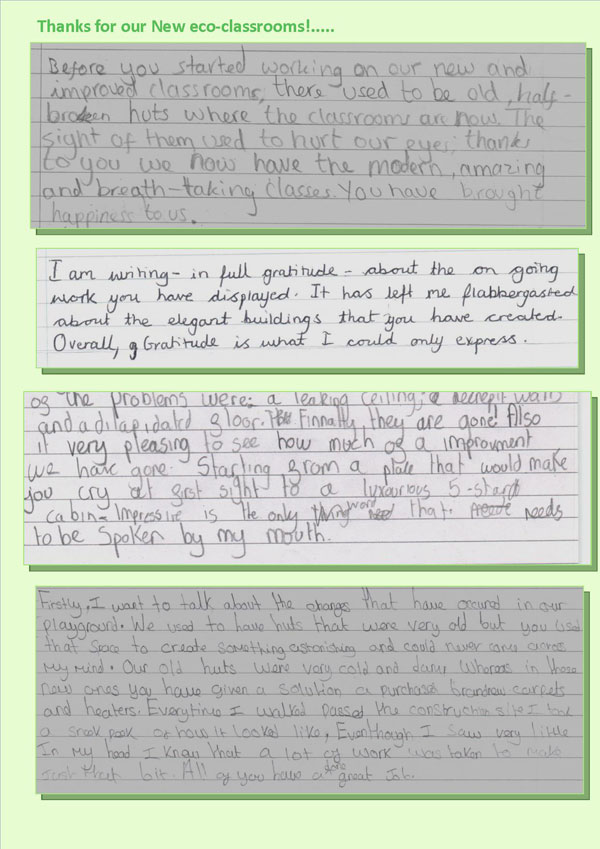 tnew classrooms happy pupils' thank you letters